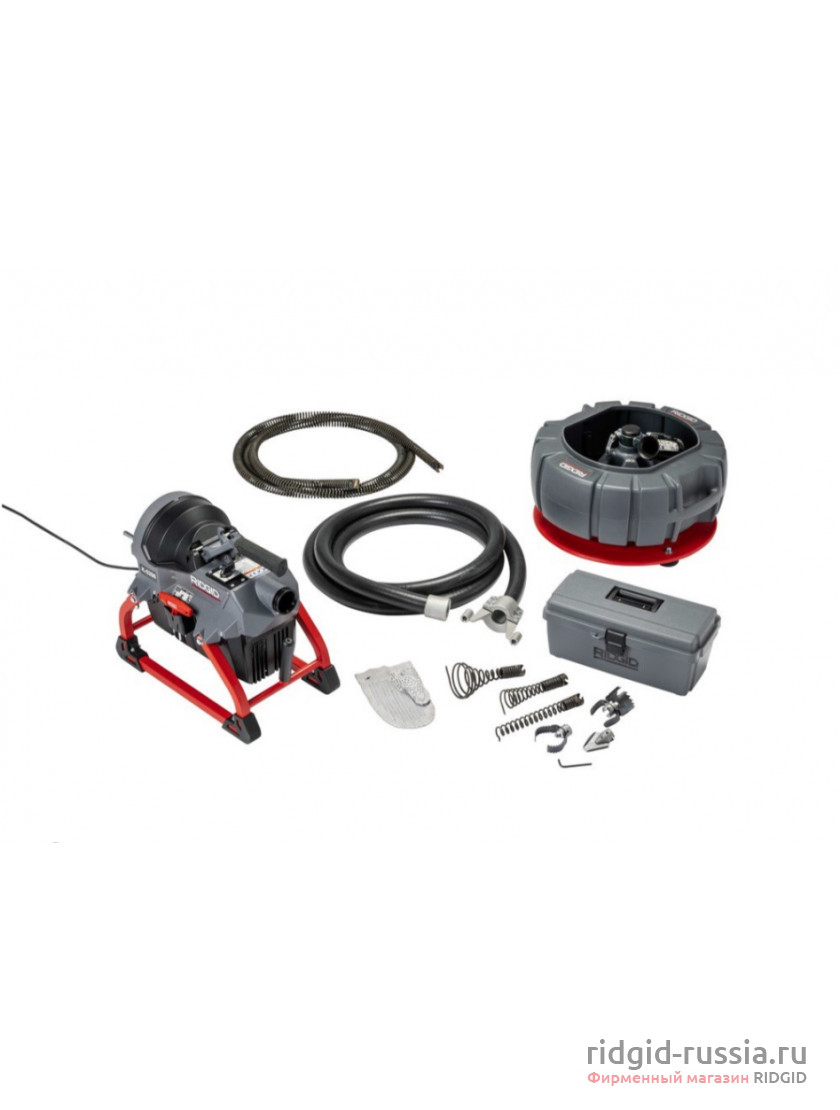 Машина секционная RIDGID K-5208 230 В, 50/60 Гц с направляющим шлангом, к-во: кабель C-11 4 шт., секционным барабаном для спирали и комплектом инструментов (с ножницами)
