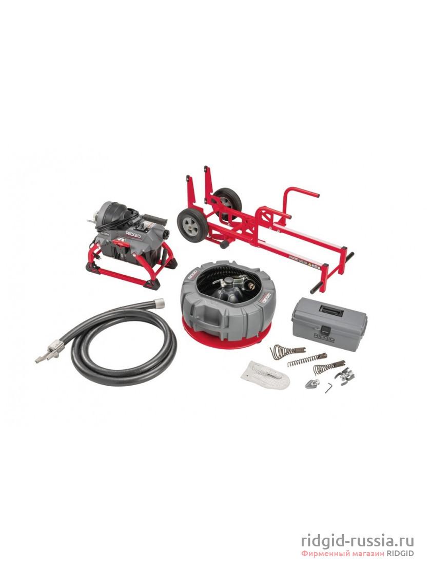 Машина секционная RIDGID K-5208 230 В, 50/60 Гц с направляющим шлангом, к-во: кабель C-10 5 шт., с секционным барабаном для спирали A-8 и комплектом инструментов (с ножницами)